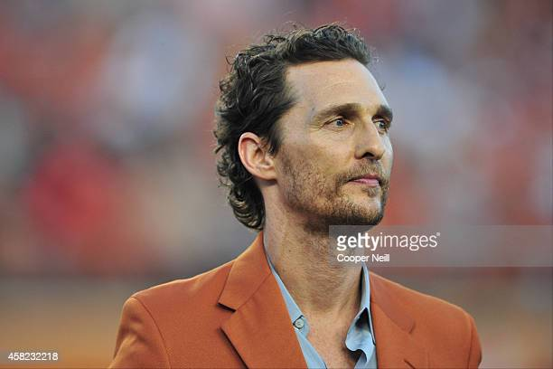 Matthew McConaughey looks on before kickoff between the Texas Longhorns and Iowa State Cyclones on October 18 2014 at Darrell K RoyalTexas Memorial...