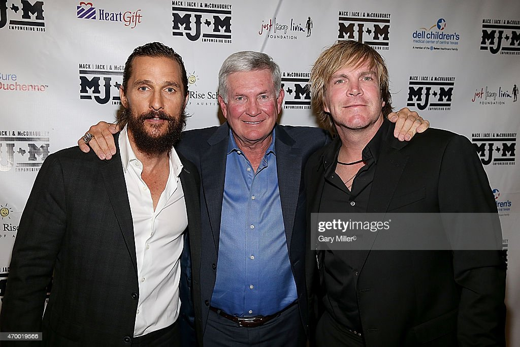 Matthew McConaughey, Mack Brown and Jack Ingram pose on the red carpet during the Mack, Jack & McConaughey charity gala at ACL Live on April 16, 2015 in Austin, Texas.