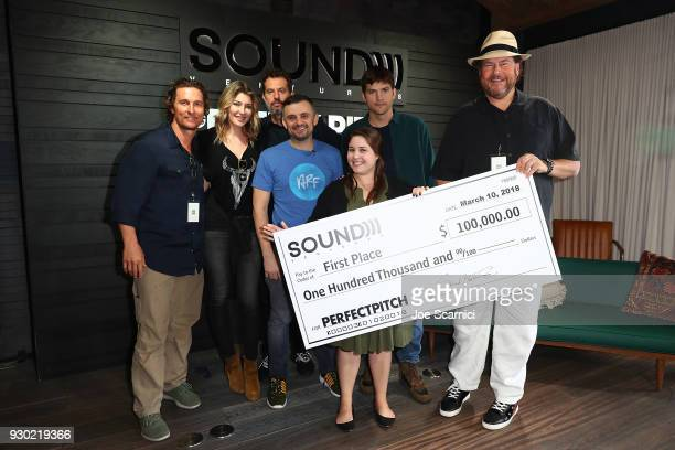 Matthew McConaughey Melody McCloskey Guy Oseary Ashton Kutcher Marc Benioff Gary Vaynerchuk and Rebecca Liebman pose for a photo at the Sound...
