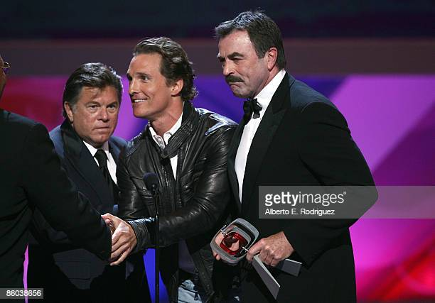 Matthew McConaughey presents the Hero Award for Magnum PI to Actors Larry Manetti Tom Selleck onstage at the 7th Annual TV Land Awards held at Gibson...