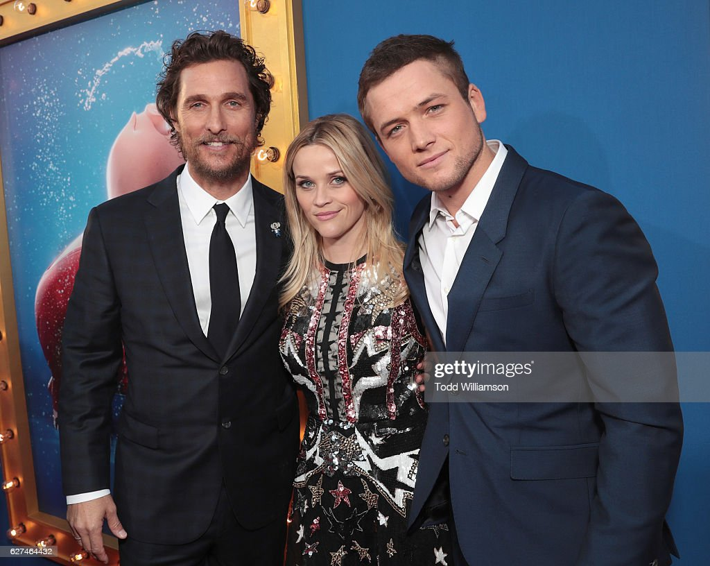 Matthew McConaughey, Reese Witherspoon and Taron Egerton attend the premiere Of Universal Pictures' 'Sing' on December 3, 2016 in Los Angeles, California.
