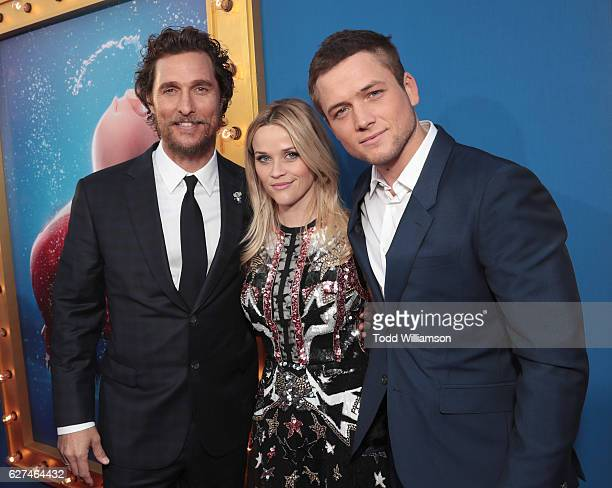 Matthew McConaughey Reese Witherspoon and Taron Egerton attend the premiere Of Universal Pictures' 'Sing' on December 3 2016 in Los Angeles California