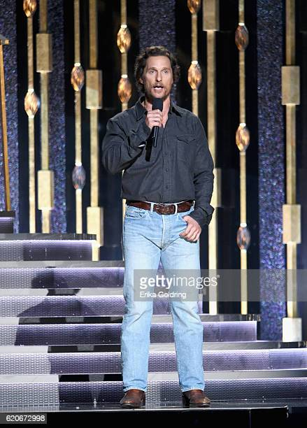 Matthew McConaughey speaks onstage at the 50th annual CMA Awards at the Bridgestone Arena on November 2 2016 in Nashville Tennessee