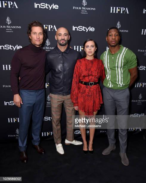 Matthew McConaughey, Yann Demange, Bel Powley and Jonathan Majors attend The Hollywood Foreign Press Association and InStyle Party during 2018...