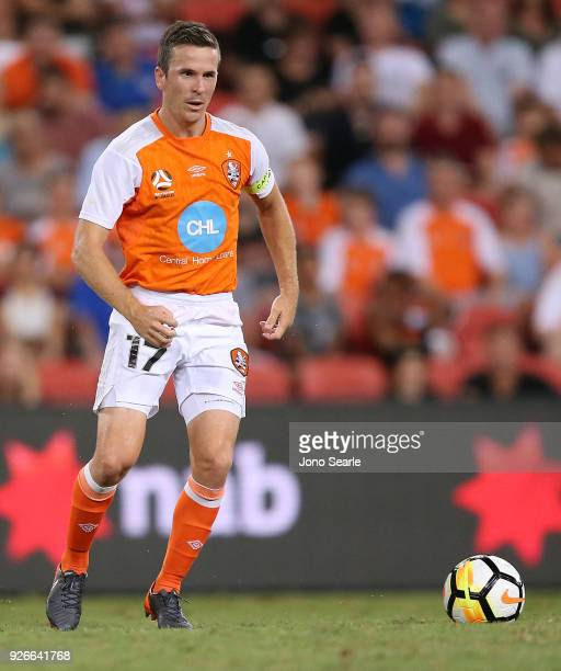 Matthew McKay of the Brisbane Roar controls the ball during the round 22 ALeague match between the Brisbane Roar and Adelaide United at Suncorp...