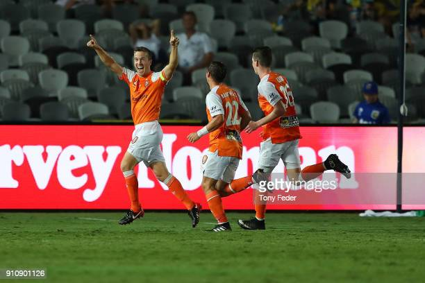 Matthew McKay of the Roar celebrates a goal during the round 18 ALeague match between the Central Coast Mariners and the Brisbane Roar at Central...