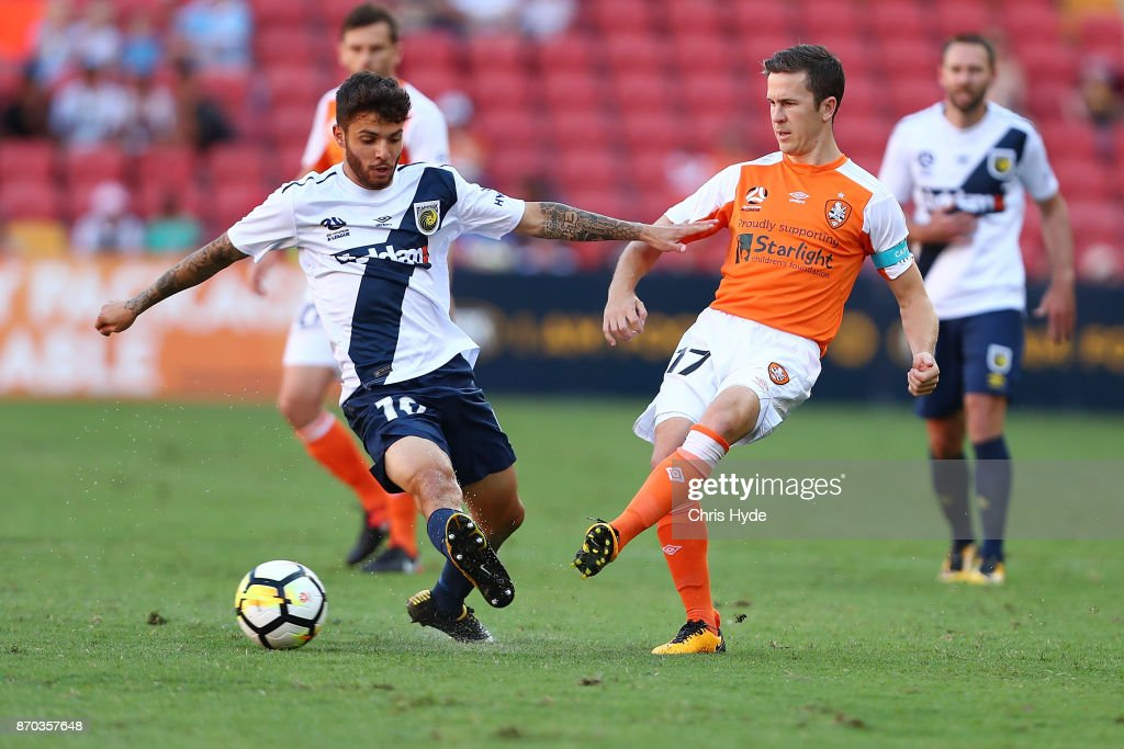 Matthew McKay of the Roar kicks during the round five A-League match between the Brisbane Roar and the Central Coast Mariners at Suncorp Stadium on November 5, 2017 in Brisbane, Australia.