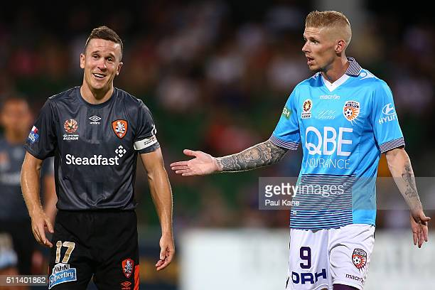 Matthew McKay of the Roar reacts to Andy Keogh of the Glory during the round 20 ALeague match between the Perth Glory and Brisbane Roar at nib...