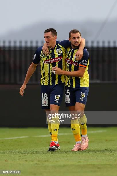 Matthew Millar and Jordan Murray of the Central Coast Mariners celebrate a goal during the round 14 A-League match between the Central Coast Mariners...