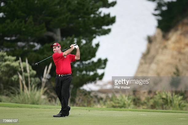 Matthew Millar of Australia plays a shot during the New Zealand Open Pro Am at the Gulf Harbour Country Club on the Whangaparoa Peninsula November...