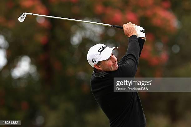 Matthew Millar of Australia plays a shot during the Open International Final Qualifying Australasia day one at Kingston Heath Golf Club on January 29...