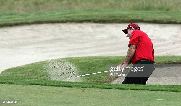 Matthew Millar of Australia plays out of a bunker during the New Zealand Open Pro Am at the Gulf Harbour Country Club on the Whangaparoa Peninsula...