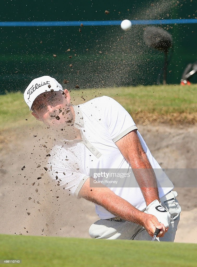 Matthew Millar of Australia plays out of the bunker during day three of the 2015 Australian Masters at Huntingdale Golf Club on November 21, 2015 in Melbourne, Australia.