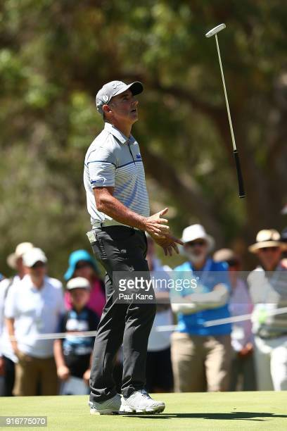 Matthew Millar of Australia reacts after missing a putt on the 6th green in the round two match against Sam Horsfield of England during day four of...