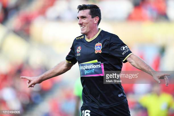 Matthew Millar of Newcastle Jets celebrates after scoring his teams second goal during the round 23 A-League match between Adelaide United and the...