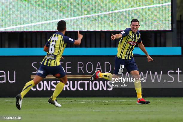 Matthew Millar of the Central Coast Mariners celebrates a goal during the round 14 A-League match between the Central Coast Mariners and the Brisbane...