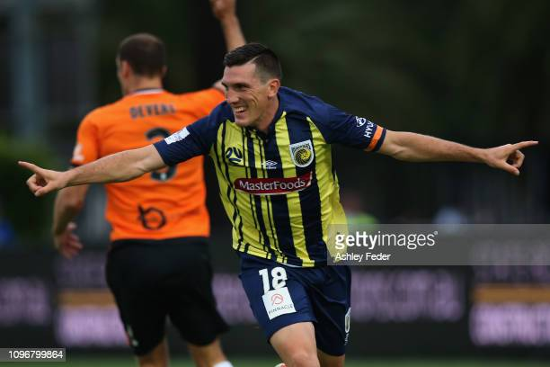Matthew Millar of the Central Coast Mariners celebrates his goal during the round 14 A-League match between the Central Coast Mariners and the...
