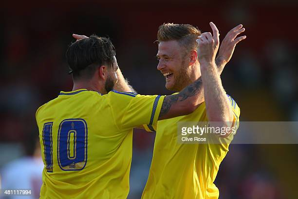 Matthew Mills of Nottingham Forest celebrates his goal during the pre season friendly match between Stevenage and Nottingham Forest at the Lamex...