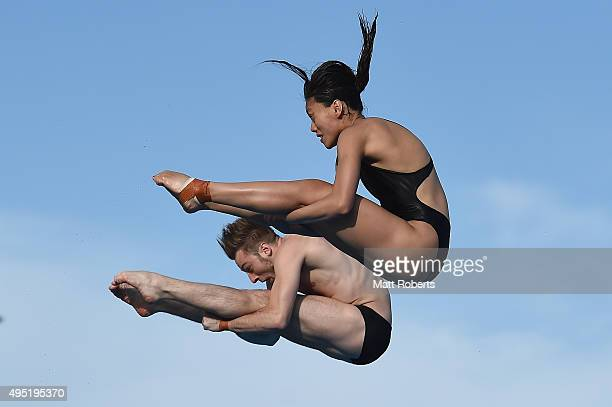 Matthew Mitcham and Esther Qin of Australia compete in the Mixed 3m Synchro Springboard Final during the FINA Diving Grand Prix on November 1 2015 on...
