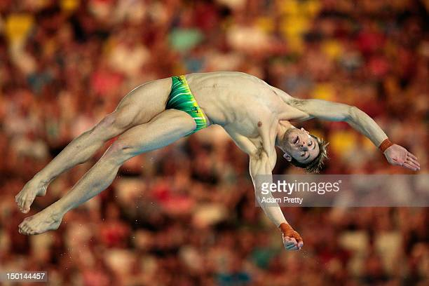 Matthew Mitcham of Australia competes in the Men's 10m Platform Diving Semifinal on Day 15 of the London 2012 Olympic Games at the Aquatics Centre on...