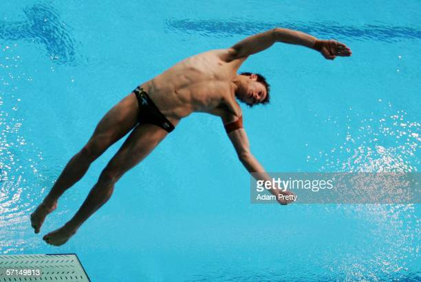 Matthew Mitcham of Australia competes in the Men's 1m Springboard Preliminary round during the diving at the Melbourne Sports Aquatic Centre during...