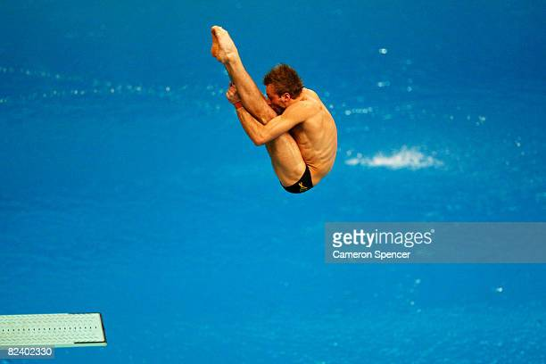 Matthew Mitcham of Australia competes in the Men's 3m Springboard Preliminary held at the National Aquatics Center on Day 10 of the Beijing 2008...