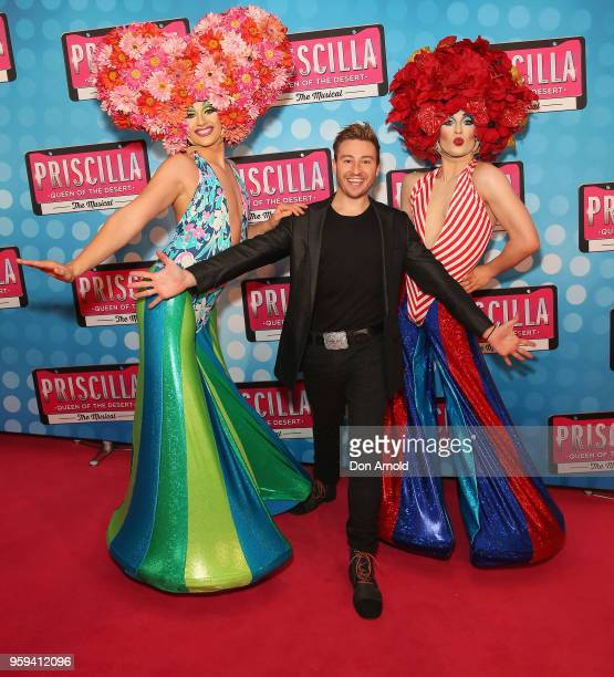 Matthew Mitcham poses alongside drag queens during the Priscilla Queen of the Desert Opening Night at Capitol Theatre on May 17, 2018 in Sydney,...