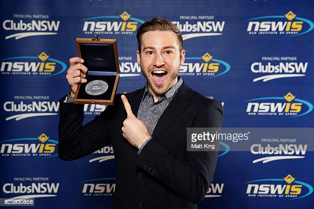 Matthew Mitcham poses with the NSWIS Most Outstading Award during the NSWIS Awards at SCG on November 17, 2016 in Sydney, Australia.