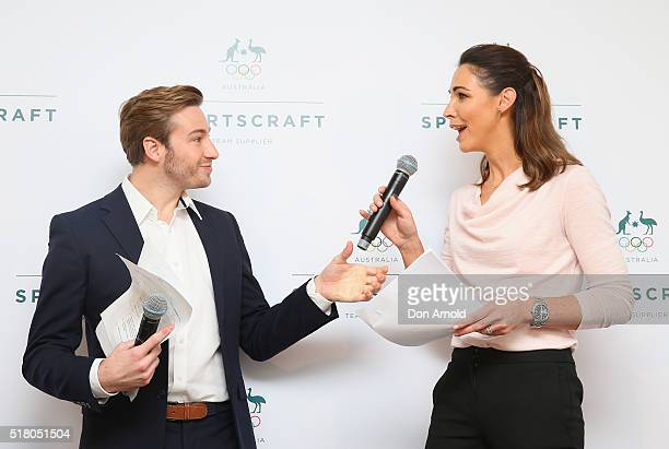 Matthew Mitcham talks to Giaan Rooney during Sportscraft's 2016 Australian Olympic Team Opening Ceremony uniform launch on March 30 2016 in Sydney...