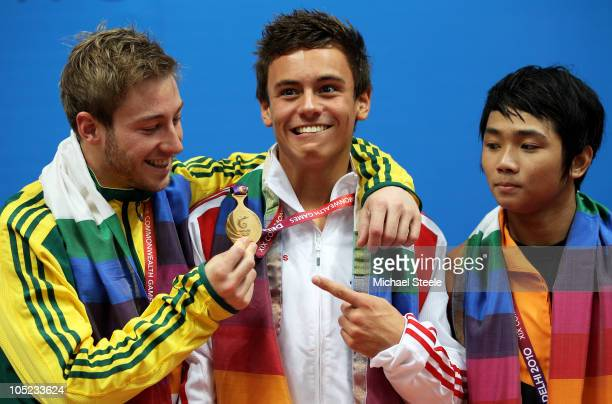 Matthew Mitcham , Tom Daley of England and Bryan Lomas of Malaysia pose with the medals won in the Men's 10m Platform Final at the Dr. S.P. Mukherjee...