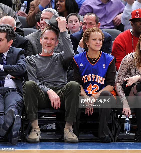 Matthew Modine and Cari Modine attend the Toronto Raptors vs New York Knicks game at Madison Square Garden on January 28 2010 in New York City