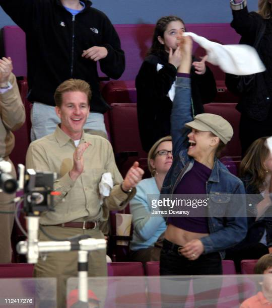 Matthew Modine and Cari Modine during Celebrities Attend New Jersey Devils vs New York Rangers Playoff Game April 29 2006 at Madison Square Garden in...