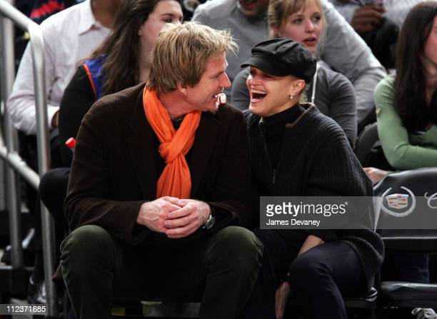 Matthew Modine and Cari Modine during Celebrities Attend Philadelphia 76ers vs New York Knicks Game April 4 2007 at Madison Square Garden in New York...