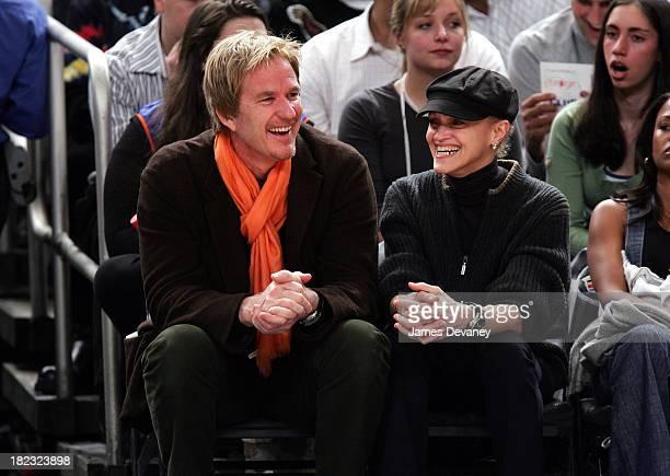 Matthew Modine and Cari Modine during Celebrities Attend Philadelphia 76ers vs New York Knicks Game April 4 2007 at Madison Square Garden in New York...