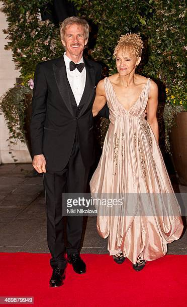 Matthew Modine and Caridad Rivera arrive at the Bafta after party held at the Grosvenor Hotel Park Lane on February 16 2014 in London England