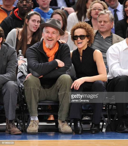 Matthew Modine and Carrie Modine attend a game between the Atlanta Hawks and the New York Knicks at Madison Square Garden on March 8 2010 in New York...