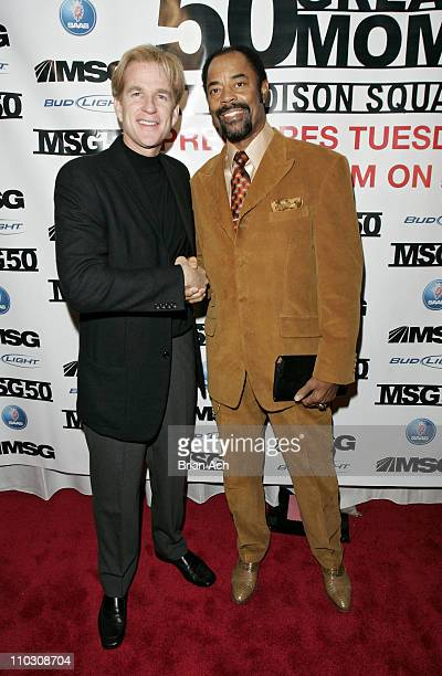 Matthew Modine and Clyde Frazier during The 50 Greatest Moments at Madison Square Garden Screening at IFC in New York City at IFC Center in New York...