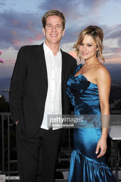 Matthew Modine and Lola Ponce attend the cocktail party Lancia Cafe during the 57th Taormina Film Fest 2011 on June 14 2011 in Taormina Italy