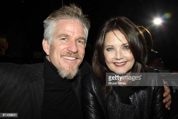Matthew Modine and Lynda Carter pose at the after party for the Broadway opening of The Miracle Worker at Crimson on March 3 2010 in New York City