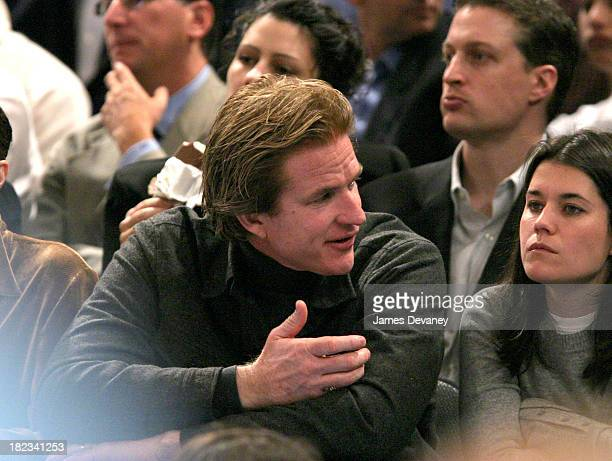 Matthew Modine and Sara Switzer during Celebrities Attend Atlanta Hawks vs New York Knicks Game at Madison Square Garden in New York City New York...