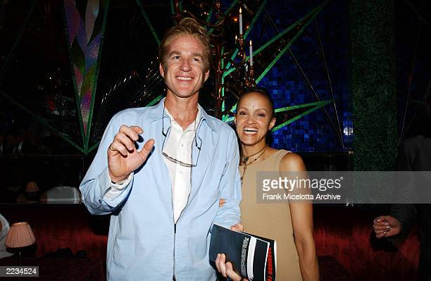 Matthew Modine and wife Caridad Rivera at the party following the New York premiere of K19 The Widowmaker at the Russian Tea Room in New York City...