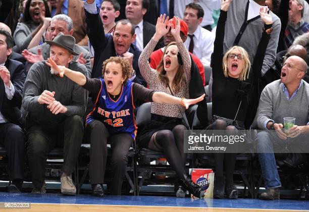 Matthew Modine Cari Modine Liz Goldwyn and Chloe Sevigny attend the Toronto Raptors vs New York Knicks game at Madison Square Garden on January 28...