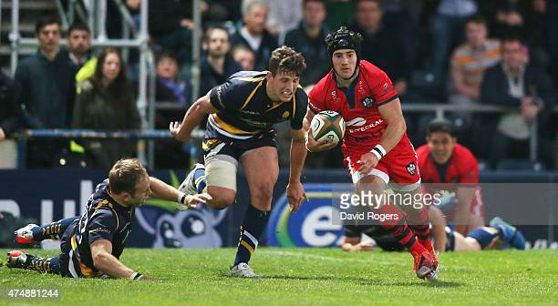 Matthew Morgan of Bristol breaks clear to score a try during the Greene King IPA Championship Final 2nd leg match between Worcester Warriors and...