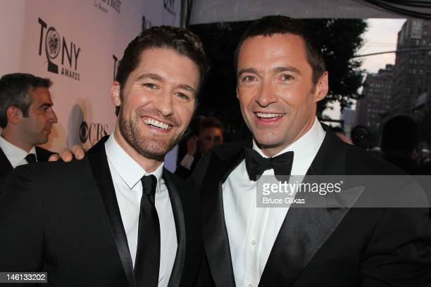 Matthew Morrison and Hugh Jackman attend the 66th Annual Tony Awards at the Beacon Theatre on June 10 2012 in New York City