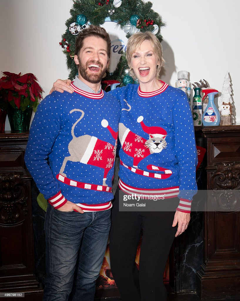 Matthew Morrison and Jane Lynch attend 'The #12Stinks of Christmas' video debut at Lightbox on November 30, 2015 in New York City.