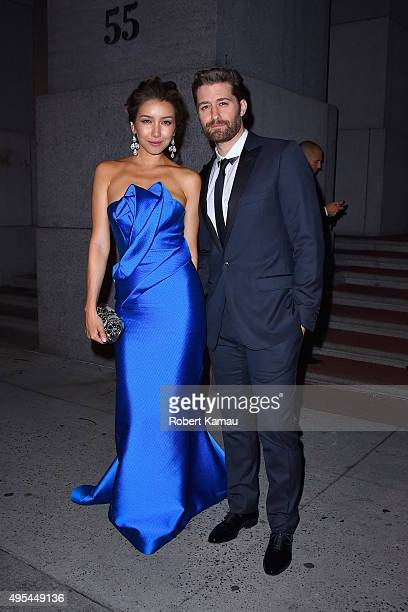 Matthew Morrison and Renee Puente attend the Elton John AIDS Foundation's 14th Annual An Enduring Vision Benefit at Cipriani Wall Street on November...