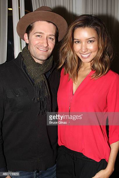 Matthew Morrison and wife Renee Puente Morrison pose backstage at the hit musical Motown on Broadway at The LuntFontanne Theater on December 21 2014...