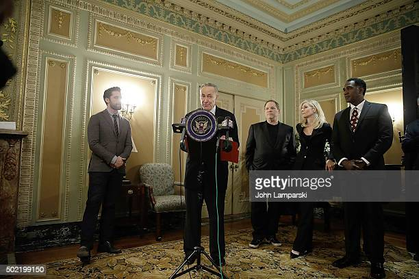 Matthew Morrison Harvey Weinstein Judith Light and Norm Lewis attend as US Senator Charles E Schumer commemorates last week's change in federal tax...