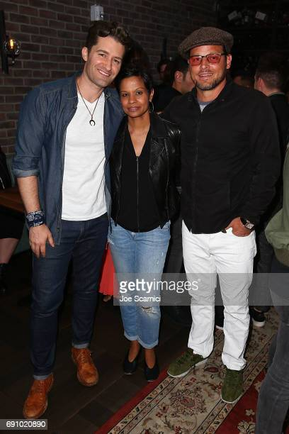 Matthew Morrison Keisha Chambers and Justin Chambers attend the Gilt Sherpapa Supply Co Launch Event at Catch LA on May 31 2017 in West Hollywood...