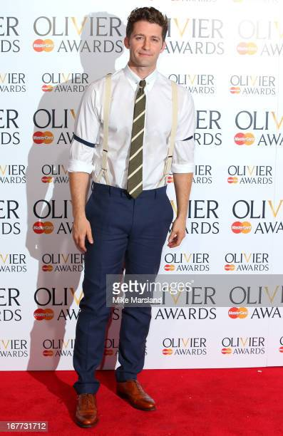 Matthew Morrison poses in the press room at The Laurence Olivier Awards at The Royal Opera House on April 28 2013 in London England